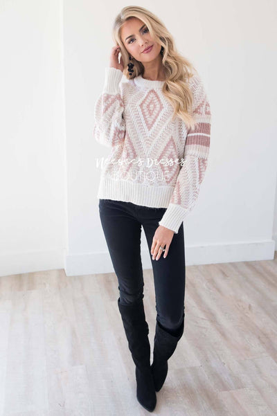 Keep Me Cozy Diamond Knit Sweater Tops vendor-unknown