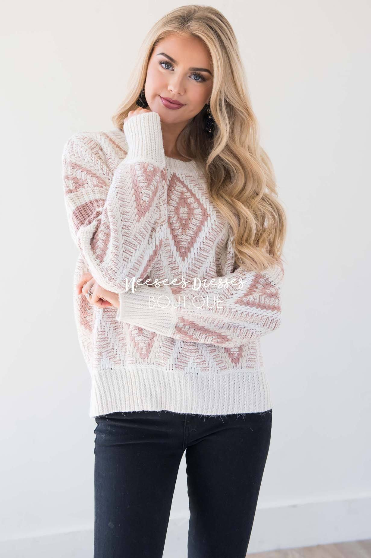 1ecf4ad7d Cream and Dusty Pink Diamond Lace Knit Sweater Modest Dresses