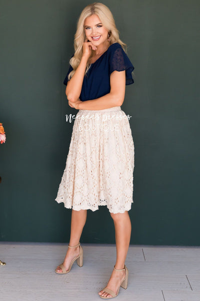Cream Textured Aline Skirt Skirts vendor-unknown