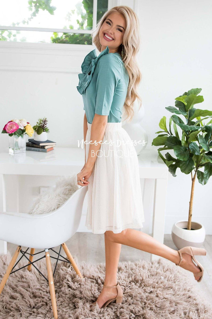 Cream Dotted Tulle Skirt