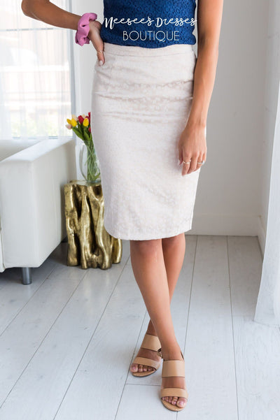 Champagne Rose Satin Pencil Skirt Skirts vendor-unknown