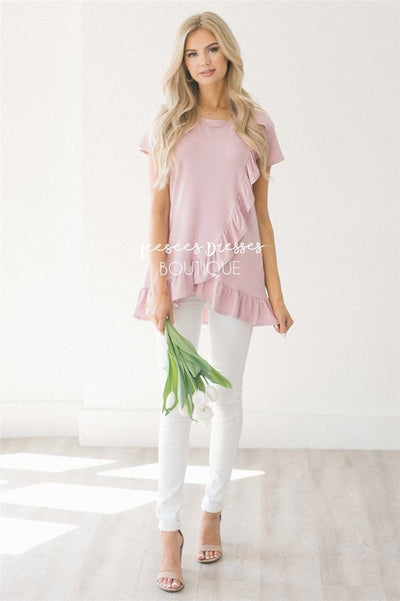 Asymmetric Ruffle Hem Tunic Tops vendor-unknown