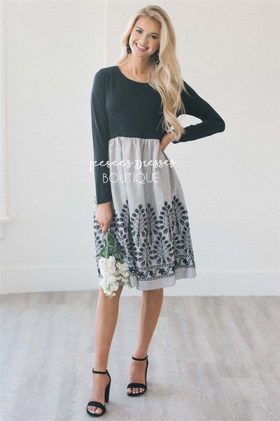 The Ambrose Modest Dresses vendor-unknown S Black & Light Gray Pinstripes With Embroidered Details
