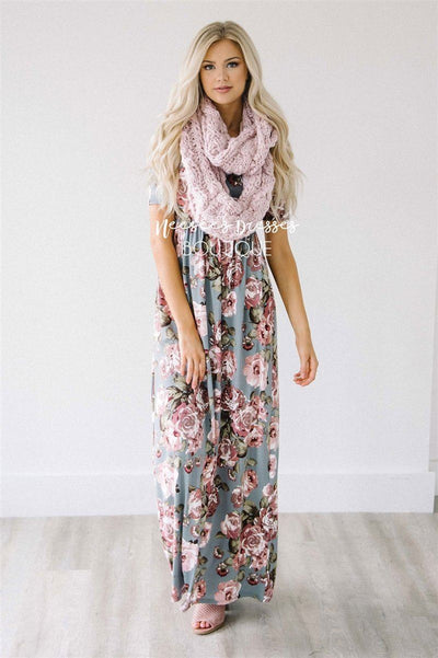 Powder Pink Chunky Knit Scarf Accessories & Shoes Leto Accessories