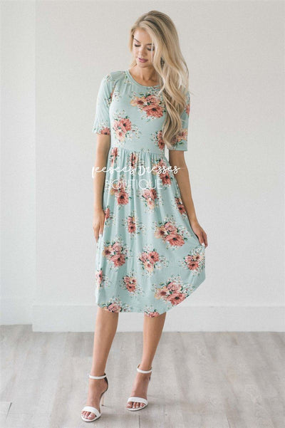 The Shirley- Rounded Hem Modest Dresses vendor-unknown S Mint Mini Lily Floral/ Half Sleeves