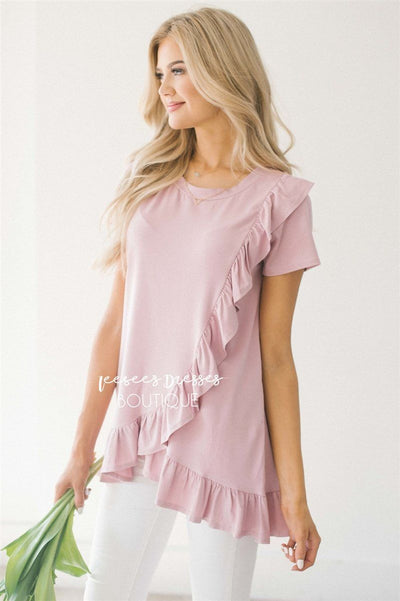 Asymmetric Ruffle Hem Tunic Tops vendor-unknown S Dusty Pink