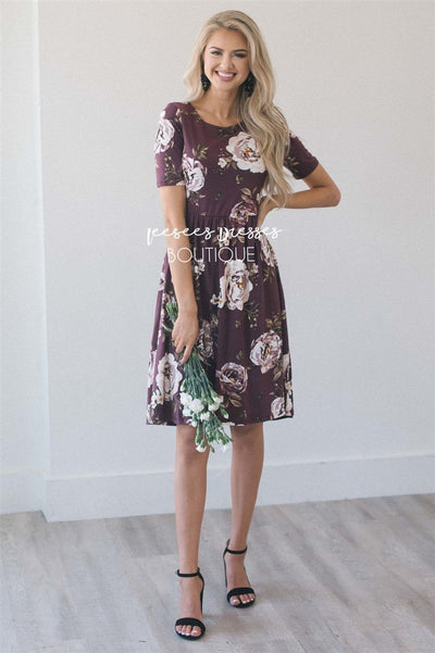 10fe7a5b38c2 Burgundy Beige Floral Modest Summer Dress | Cute Modest Clothes ...