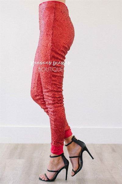 New Years Eve Sequin Leggings Accessories & Shoes vendor-unknown Red S