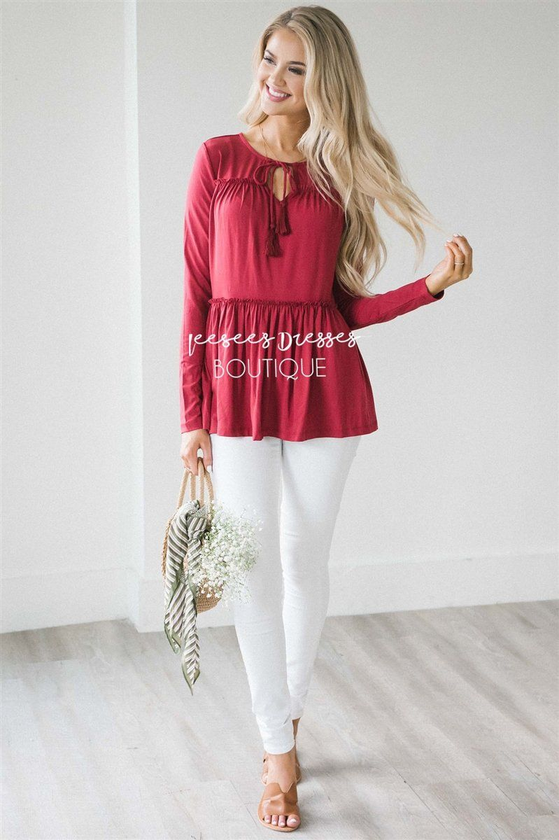 Ruffle Tiered Neck Tie Long Sleeve Top