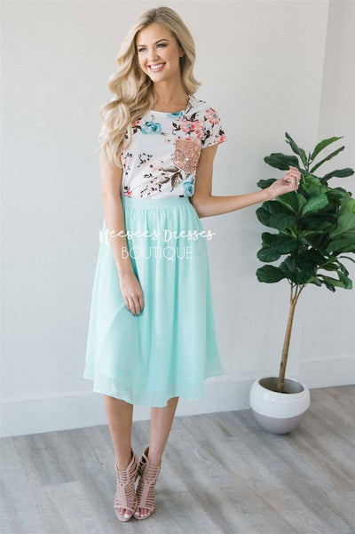 Mint Chiffon Skirt Skirts vendor-unknown