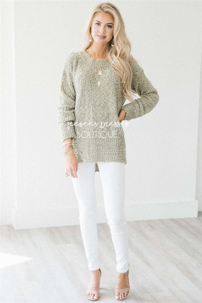 Cozy Fall Popcorn Pullover Round Neck Sweater Tops vendor-unknown Light Sage S