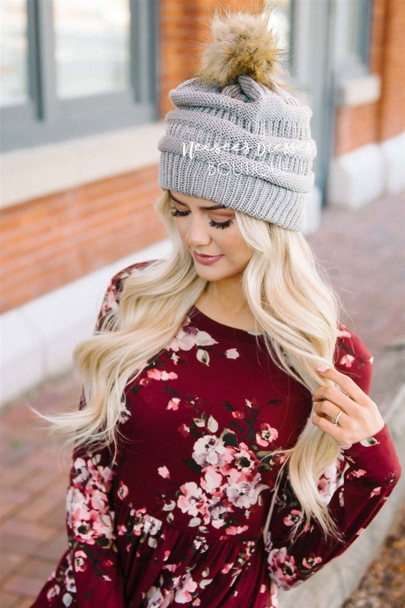 Gray Fur Pom Knit Beanie