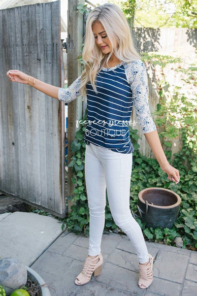 Navy Striped Floral Baseball Sleeve Tee
