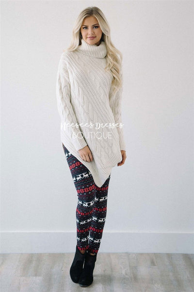 Burgundy Reindeer Leggings