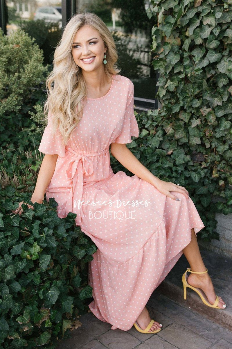 612cba260f5bf Polka Dot Flutter Sleeve Tiered Maxi Dress Modest Dresses vendor-unknown  Peachy Pink S