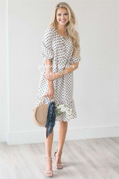 The Ivanna Modest Dresses vendor-unknown S Cream & Navy Polka Dots