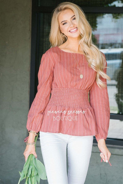 Pinstripe Cinched Waist Tie Sleeve Top Tops vendor-unknown