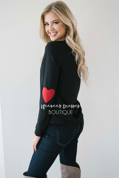 Heart Elbow Patch Sweater Tops vendor-unknown Black S