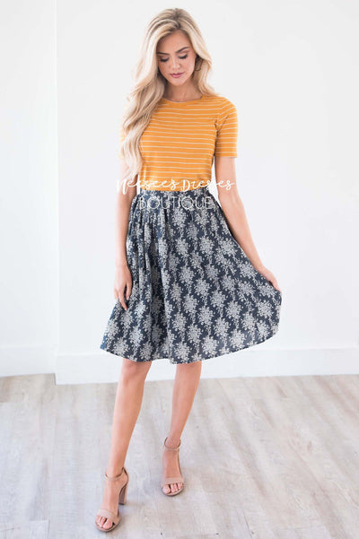 Keeps Calling Me Back Damask Skirt Skirts vendor-unknown