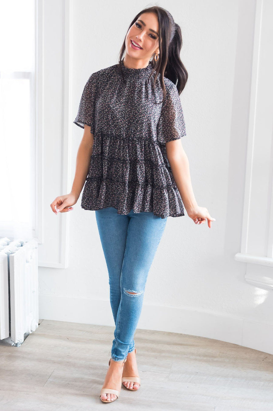 Happy Twirls Modest Tiered Blouse