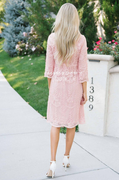 Day Dreamer Lace Dress in Dusty Mauve Modest Dresses vendor-unknown