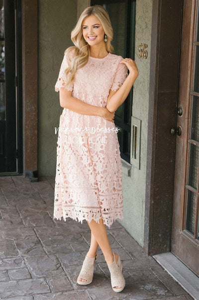 The Brooklynn - Nursing Friendly Modest Dresses vendor-unknown Pale Pink S