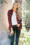 Plaid Button Down Tie Sleeve Top Tops vendor-unknown Red Plaid S