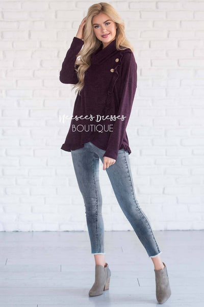 Cowl Neck Ruffle Front Sweater Tops vendor-unknown