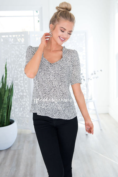 Definitely Maybe Leopard Dot Blouse Tops vendor-unknown