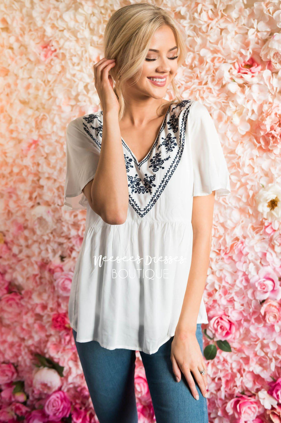 Sunshiny Embroidered Babydoll Blouse