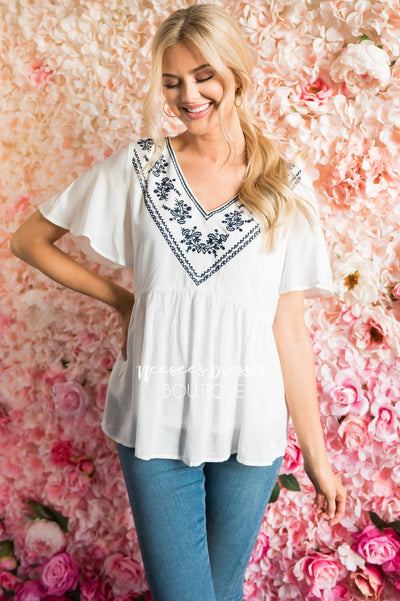 Sunshiny Embroidered Babydoll Blouse Tops vendor-unknown