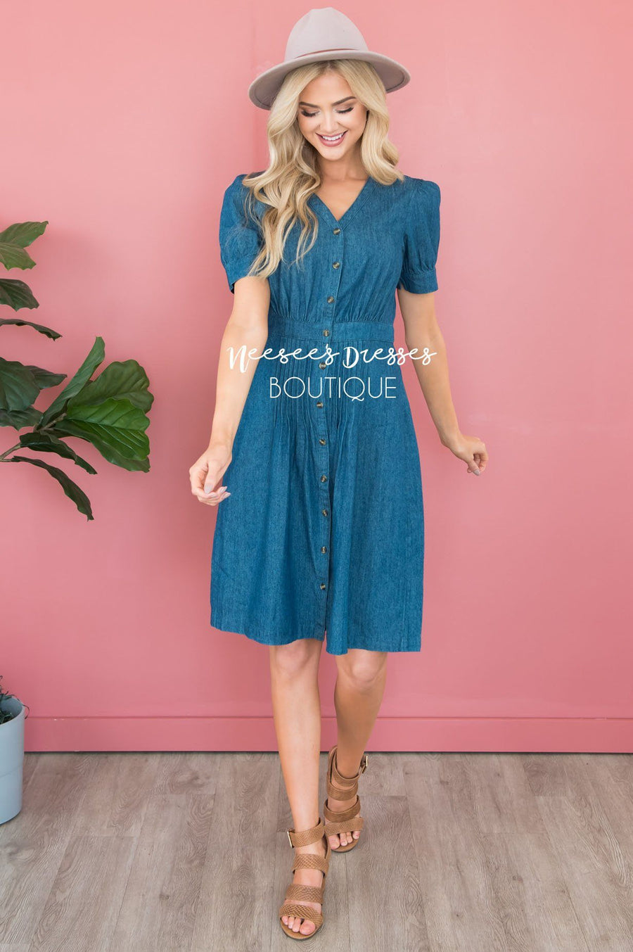 The Chayla Denim Dress Modest Dresses vendor-unknown