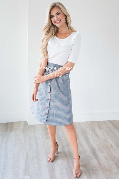 Light Denim & Tan Striped Button Down Skirt Skirts vendor-unknown
