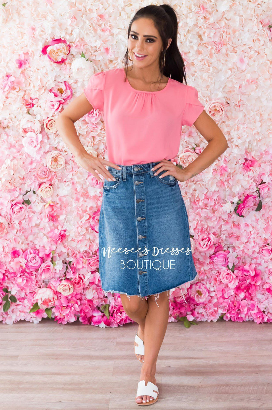 Downtown Modest Denim Skirt
