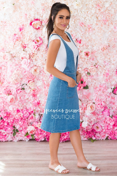The Jericka Denim Overall Dress Modest Dresses vendor-unknown