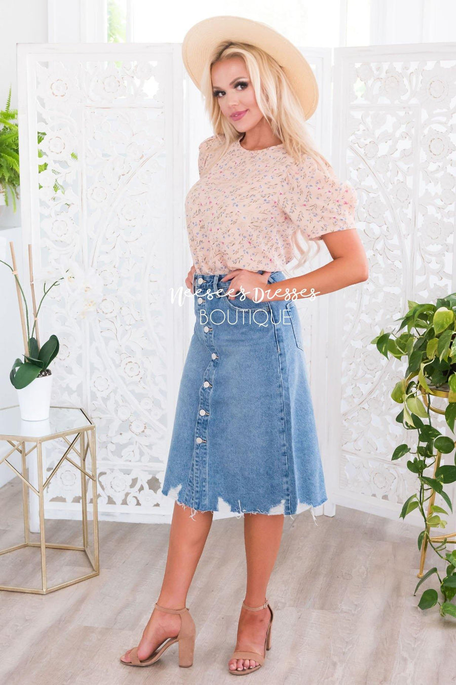 City of Lights Modest Denim Skirt Skirts vendor-unknown