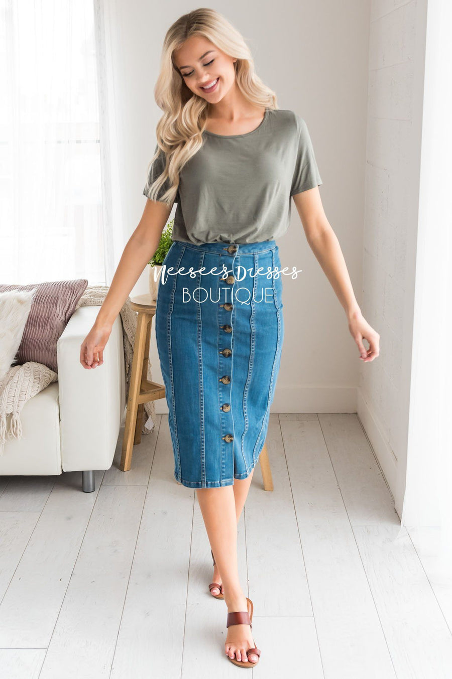 Button Front Modest Denim Skirt