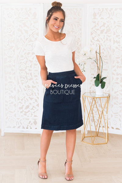 Days Like This Modest Denim Skirt Skirts vendor-unknown