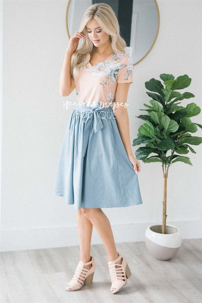 Chambray Tie Waist Skirt Skirts vendor-unknown XS Chambray Blue