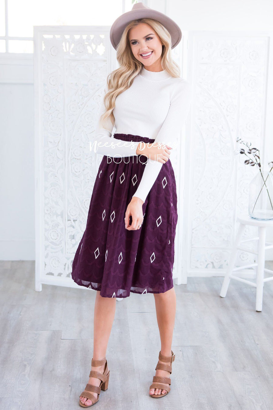 Diamond Print Textured Smocked Waist Skirt