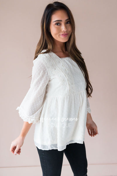 Dotted Crochet Trim Gathered Waist Blouse Tops vendor-unknown