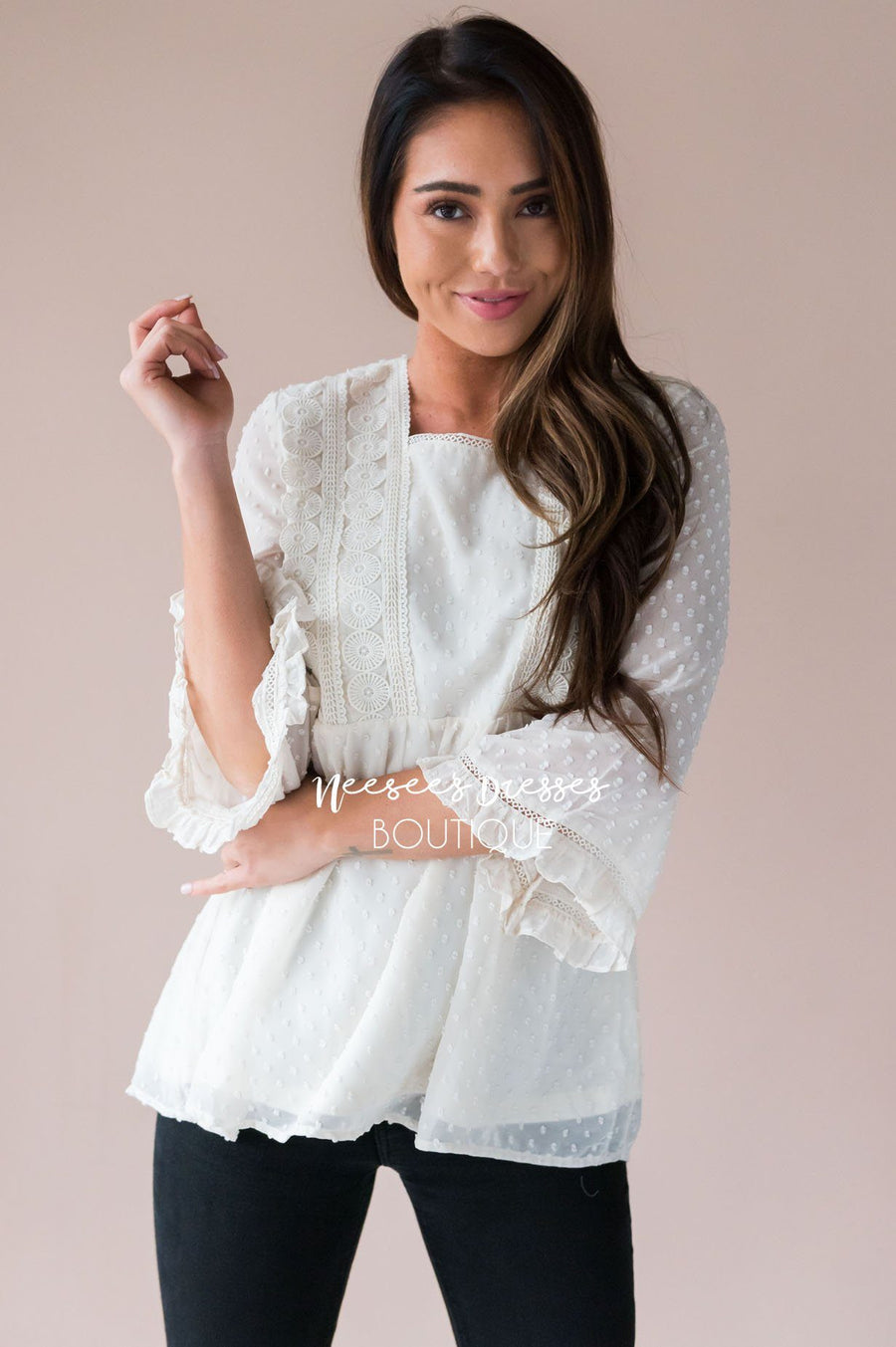 Dotted Crochet Trim Gathered Waist Blouse