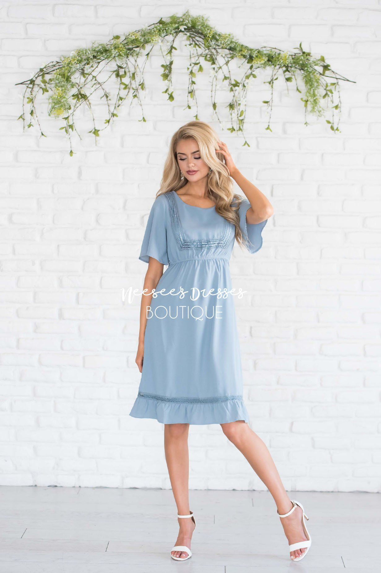 b4d8fe1aba709 Dusty Blue Lace Trim Ruffle Detail Modest Dress | Modest Clothing ...