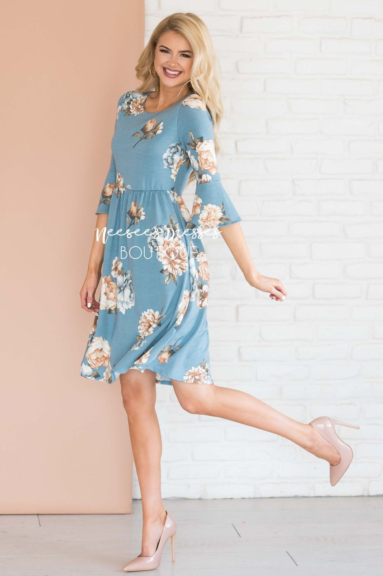9e2e74181f5a7 Dusty Blue Floral Bell Sleeve Modest Bridesmaids Dress | Best and ...