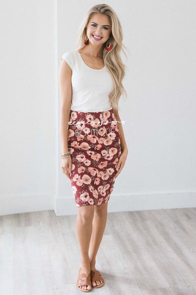 Dusty Burgundy Floral Pencil Skirt Skirts vendor-unknown