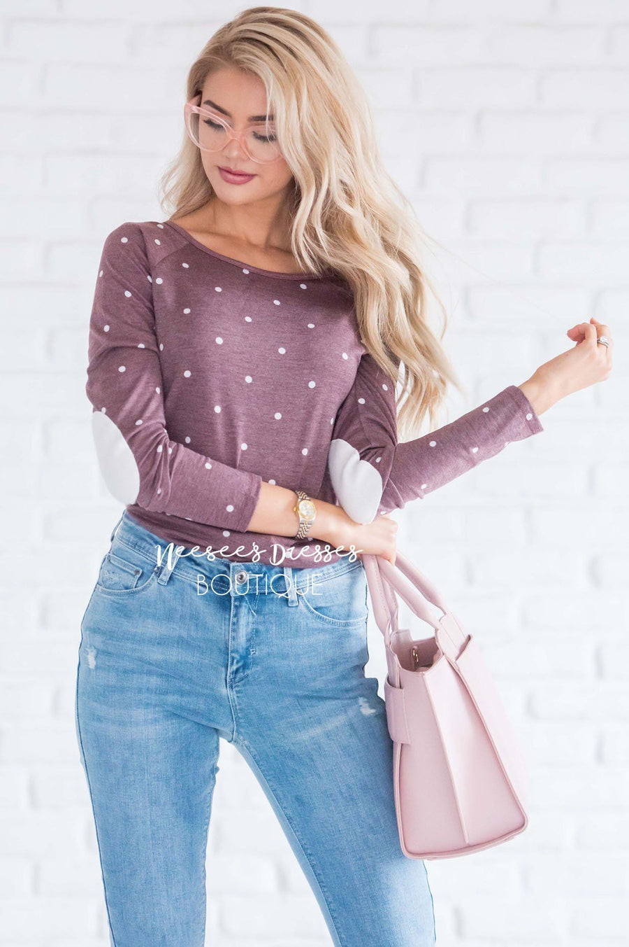 Polka Dot Elbow Patch Shirred Side Top