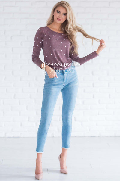 Polka Dot Elbow Patch Shirred Side Top Tops vendor-unknown