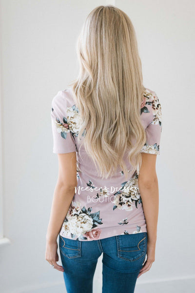 Faded Lilac Floral Scoop Neck Top Tops vendor-unknown