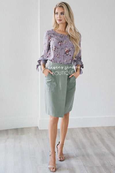 Faux Wrap Skirt Skirts vendor-unknown