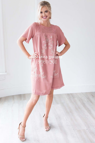 49e9ee43cb2c9 Dusty Pink Embroidered Detailed Modest Dress | Affordable Modest ...